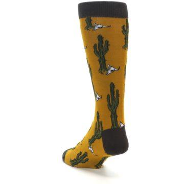 Image of Golden Yellow Green Cactus Men's Dress Socks (side-2-back-16)