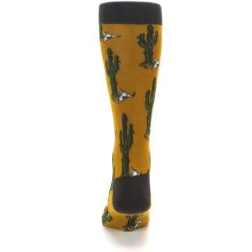 Image of Golden Yellow Green Cactus Men's Dress Socks (back-18)