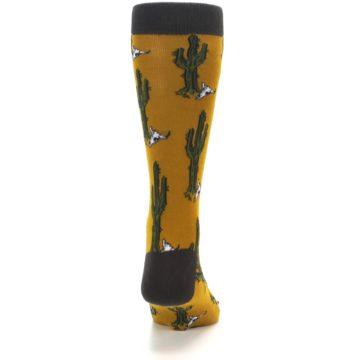 Image of Golden Yellow Green Cactus Men's Dress Socks (back-19)