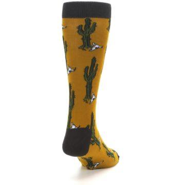 Image of Golden Yellow Green Cactus Men's Dress Socks (side-1-back-20)