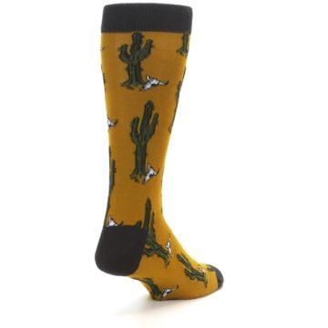 Image of Golden Yellow Green Cactus Men's Dress Socks (side-1-back-21)