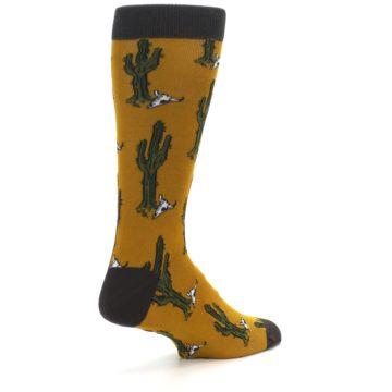 Image of Golden Yellow Green Cactus Men's Dress Socks (side-1-back-22)