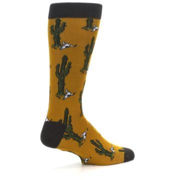 Image of Golden Yellow Green Cactus Men's Dress Socks (side-1-23)