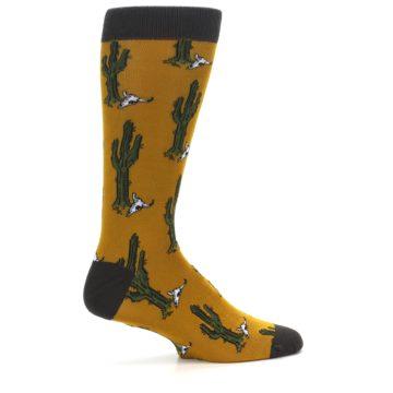 Image of Golden Yellow Green Cactus Men's Dress Socks (side-1-24)