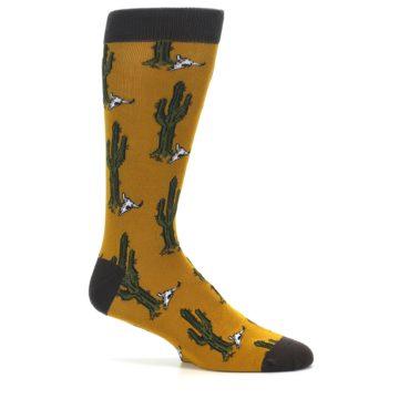 Image of Golden Yellow Green Cactus Men's Dress Socks (side-1-25)