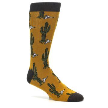 Image of Golden Yellow Green Cactus Men's Dress Socks (side-1-26)