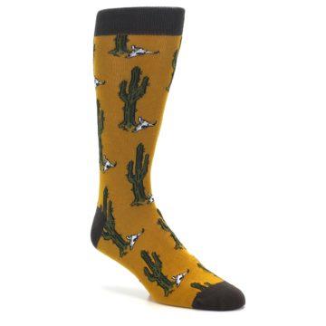 Image of Golden Yellow Green Cactus Men's Dress Socks (side-1-27)