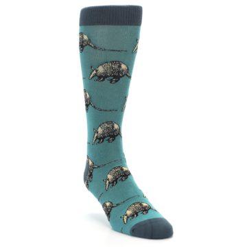 Image of Teal Armadillo Men's Dress Socks (side-1-front-02)