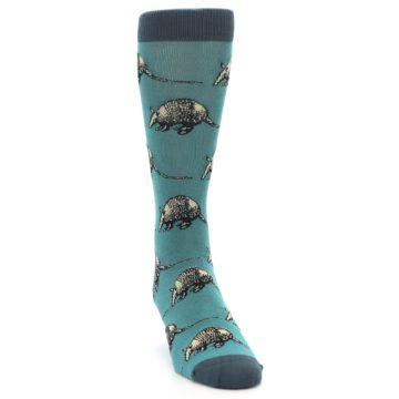 Image of Teal Armadillo Men's Dress Socks (side-1-front-03)
