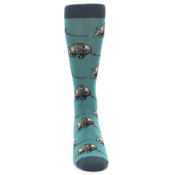 Image of Teal Armadillo Men's Dress Socks (front-04)