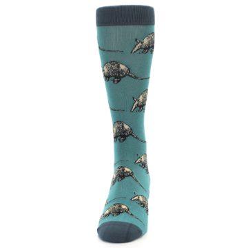 Image of Teal Armadillo Men's Dress Socks (front-05)