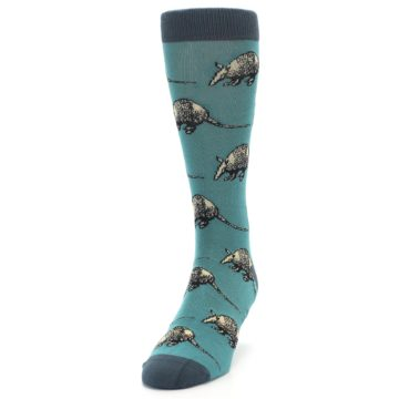 Image of Teal Armadillo Men's Dress Socks (side-2-front-06)