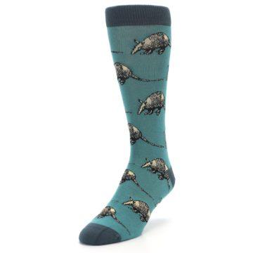 Image of Teal Armadillo Men's Dress Socks (side-2-front-07)