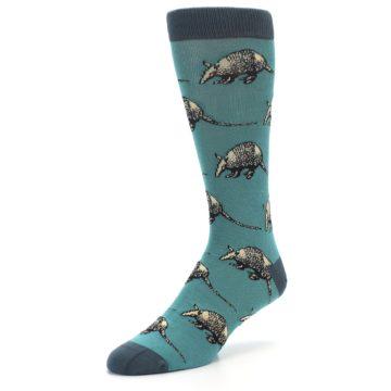 Image of Teal Armadillo Men's Dress Socks (side-2-front-08)