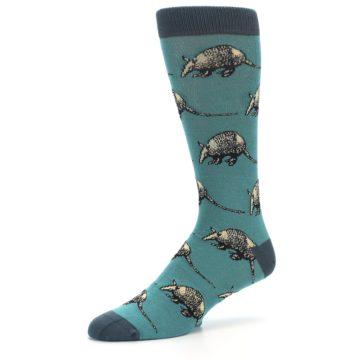 Image of Teal Armadillo Men's Dress Socks (side-2-09)