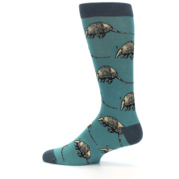 Image of Teal Armadillo Men's Dress Socks (side-2-12)