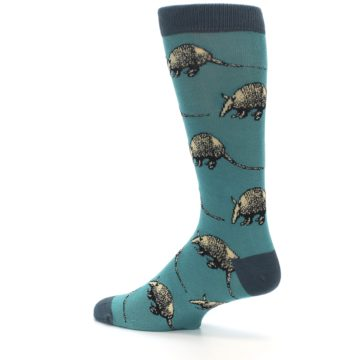 Image of Teal Armadillo Men's Dress Socks (side-2-13)