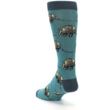 Image of Teal Armadillo Men's Dress Socks (side-2-back-15)