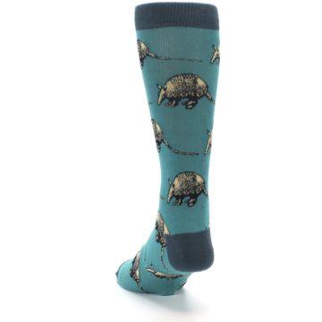 Image of Teal Armadillo Men's Dress Socks (side-2-back-16)