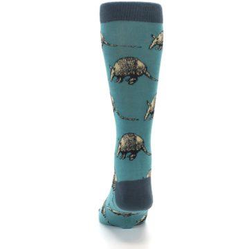Image of Teal Armadillo Men's Dress Socks (back-17)