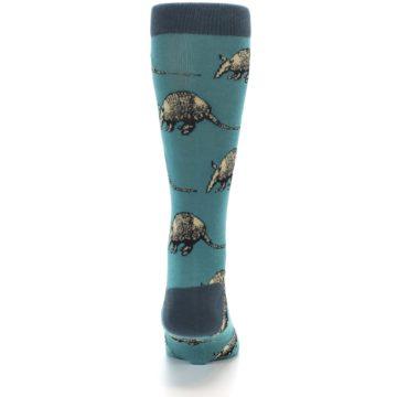 Image of Teal Armadillo Men's Dress Socks (back-18)