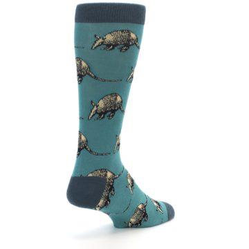Image of Teal Armadillo Men's Dress Socks (side-1-back-21)