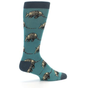 Image of Teal Armadillo Men's Dress Socks (side-1-23)