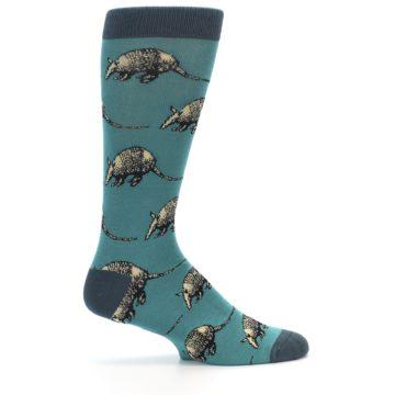 Image of Teal Armadillo Men's Dress Socks (side-1-24)