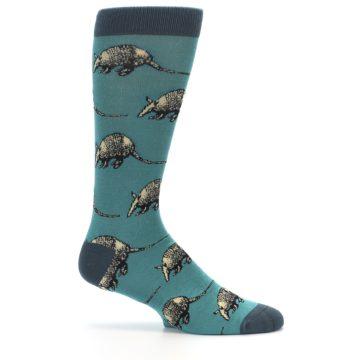 Image of Teal Armadillo Men's Dress Socks (side-1-25)