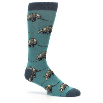 Image of Teal Armadillo Men's Dress Socks (side-1-26)