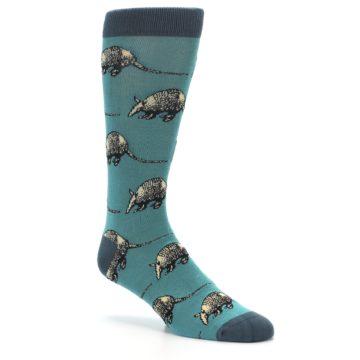 Image of Teal Armadillo Men's Dress Socks (side-1-27)