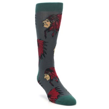 Image of Grey Red Indian Chief Men's Dress Socks (side-1-front-02)