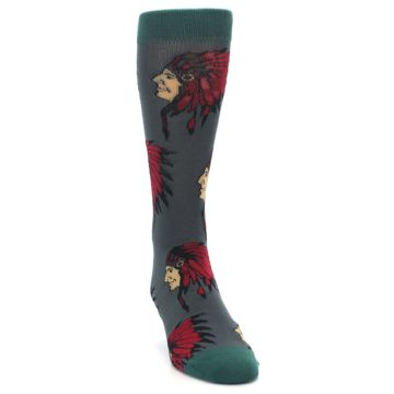 Image of Grey Red Indian Chief Men's Dress Socks (side-1-front-03)