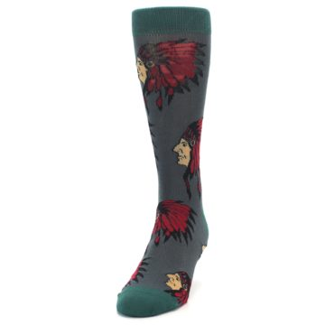Image of Grey Red Indian Chief Men's Dress Socks (side-2-front-06)
