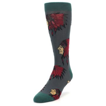 Image of Grey Red Indian Chief Men's Dress Socks (side-2-front-07)