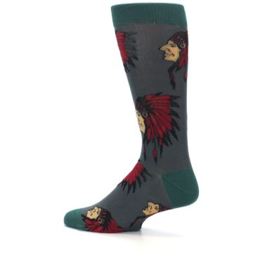 Image of Grey Red Indian Chief Men's Dress Socks (side-2-13)