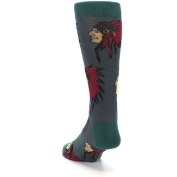 Image of Grey Red Indian Chief Men's Dress Socks (side-2-back-16)