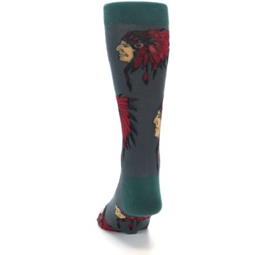 Image of Grey Red Indian Chief Men's Dress Socks (back-17)