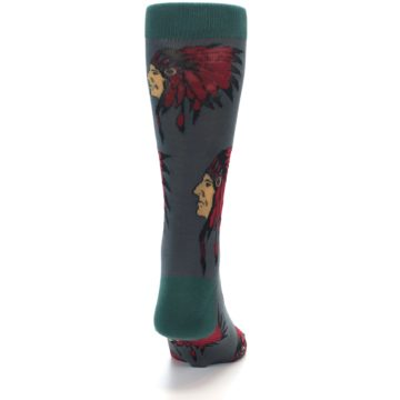 Image of Grey Red Indian Chief Men's Dress Socks (back-19)