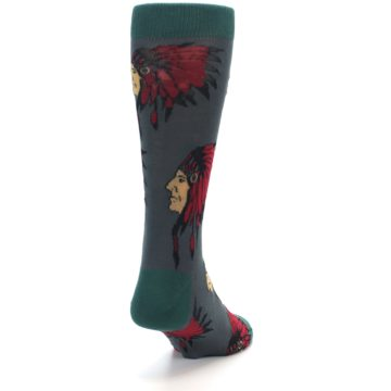 Image of Grey Red Indian Chief Men's Dress Socks (side-1-back-20)
