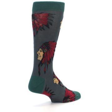 Image of Grey Red Indian Chief Men's Dress Socks (side-1-back-22)