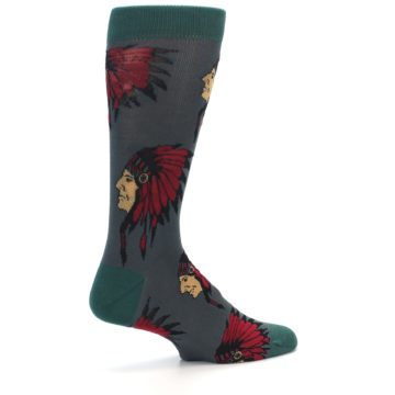 Image of Grey Red Indian Chief Men's Dress Socks (side-1-23)