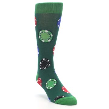Image of Green Casino Poker Chips Men's Dress Socks (side-1-front-02)