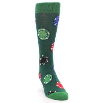Image of Green Casino Poker Chips Men's Dress Socks (side-1-front-03)