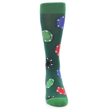 Image of Green Casino Poker Chips Men's Dress Socks (front-04)