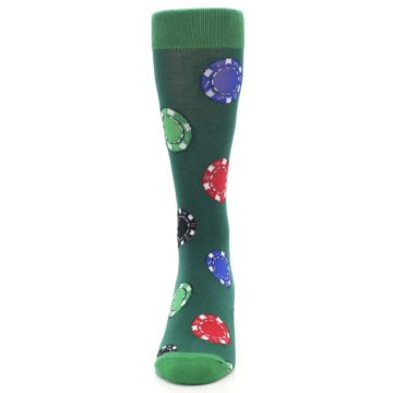 Image of Green Casino Poker Chips Men's Dress Socks (front-05)