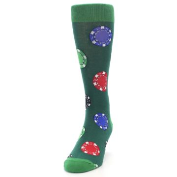 Image of Green Casino Poker Chips Men's Dress Socks (side-2-front-06)