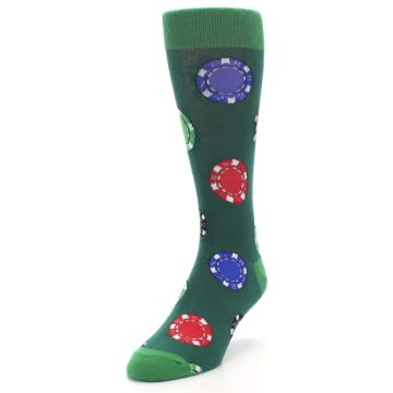 Image of Green Casino Poker Chips Men's Dress Socks (side-2-front-07)
