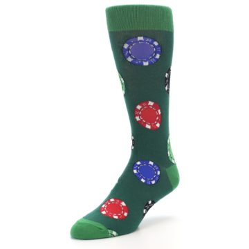 Image of Green Casino Poker Chips Men's Dress Socks (side-2-front-08)