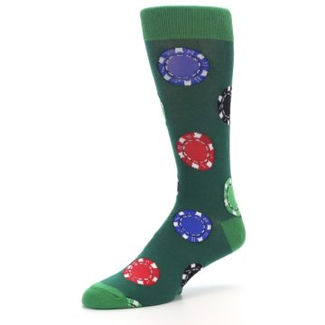 Image of Green Casino Poker Chips Men's Dress Socks (side-2-09)